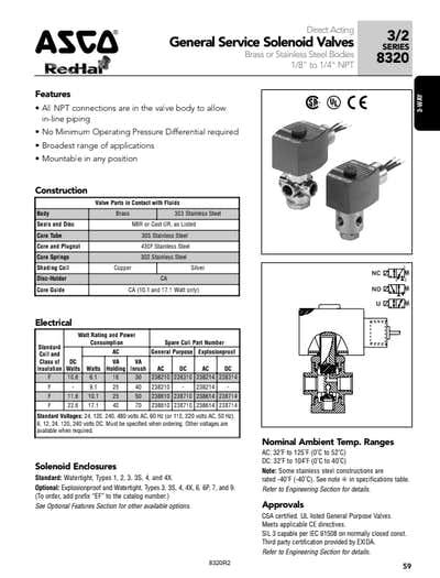 asco 3-way solenoid valve series 8320 - flotech inc on asco solenoid  valves 3