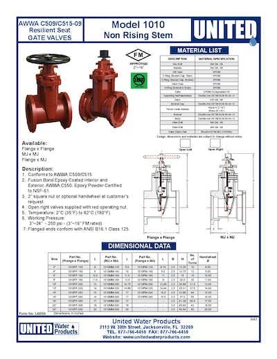 United Water Gate Valve - AWWA C509/C515 - DI - NRS - Model